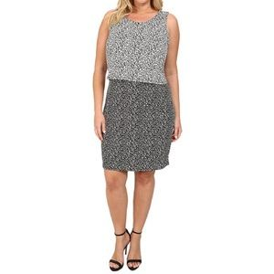 Vince Camuto Shadow Form Colorblock Overlay Dress